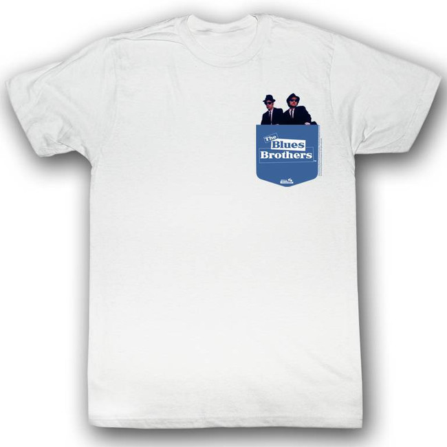 Blues Brothers Pocket White Adult T-Shirt