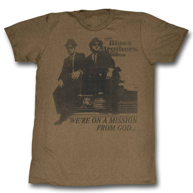 Blues Brothers Mission From God Mocha Heather Adult T-Shirt