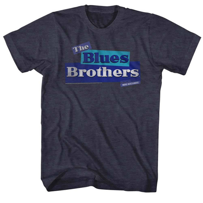 Blues Brothers Old Logo Navy Heather Adult T-Shirt