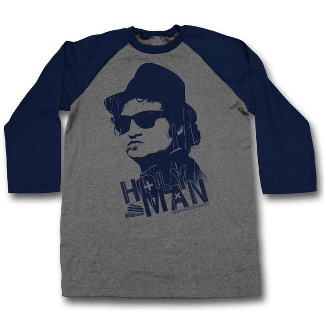 Blues Brothers Holy Man Gray/Navy Adult Raglan Baseball T-Shirt