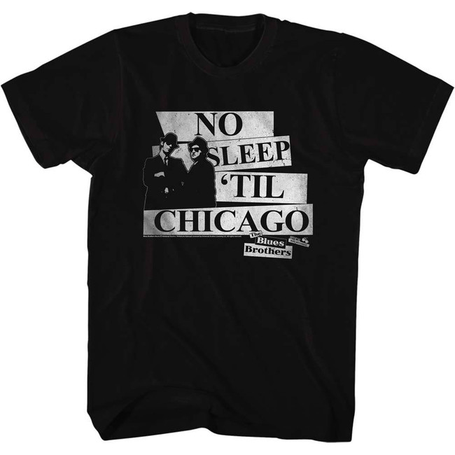 Blues Brothers No Sleep Black Adult T-Shirt