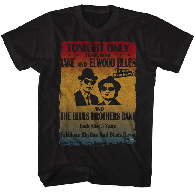 Blues Brothers Poster Black Adult T-Shirt