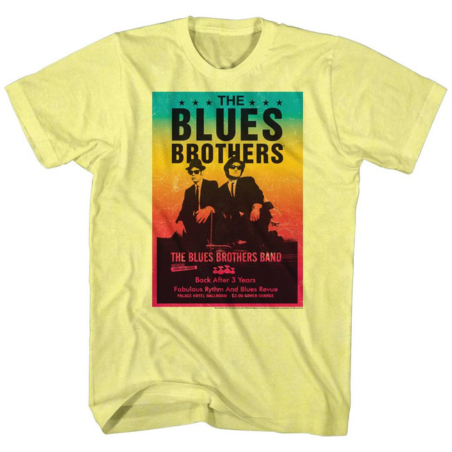 Blues Brothers Band Poster Yellow Heather Adult T-Shirt