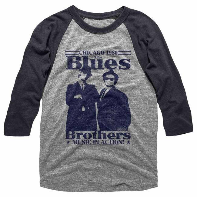 Blues Brothers In Action Gray/Dark Heather Adult Raglan Baseball T-Shirt