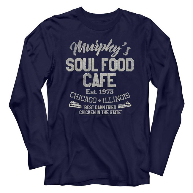 Blues Brothers Soul Food Café Navy Adult Long Sleeve T-Shirt