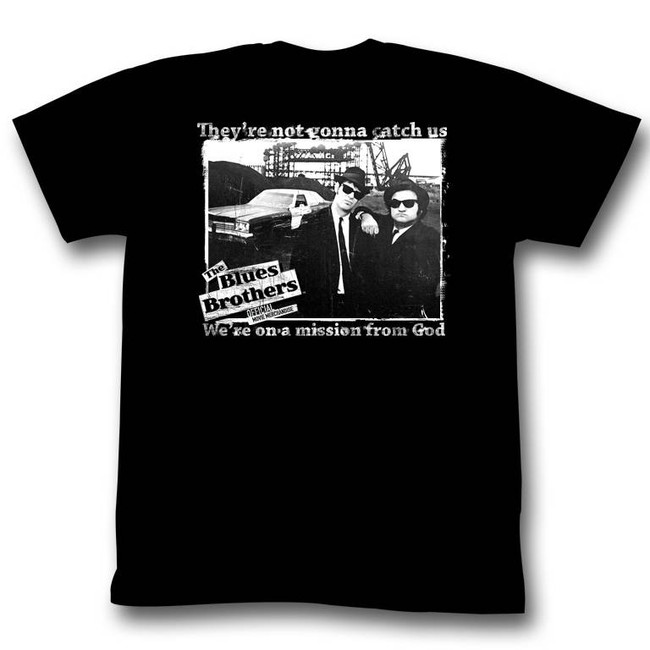 Blues Brothers Not Gonna Catch Us Black Adult T-Shirt