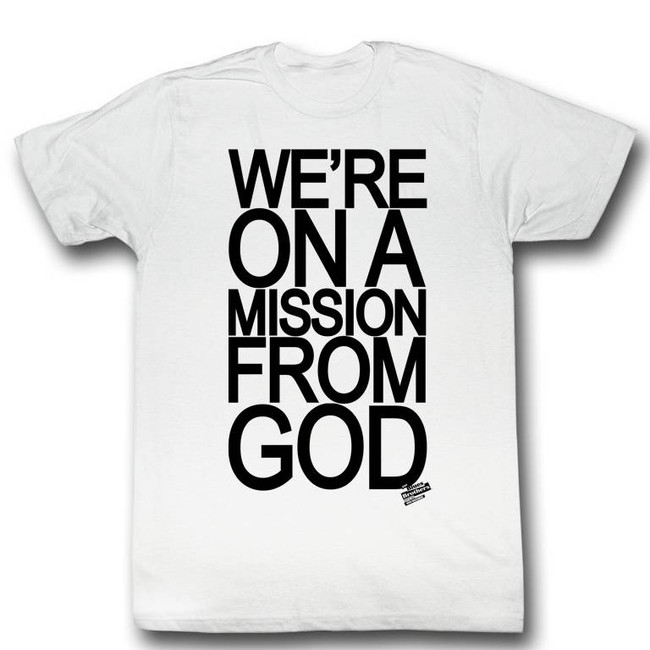 Blues Brothers Mission From God White Adult T-Shirt