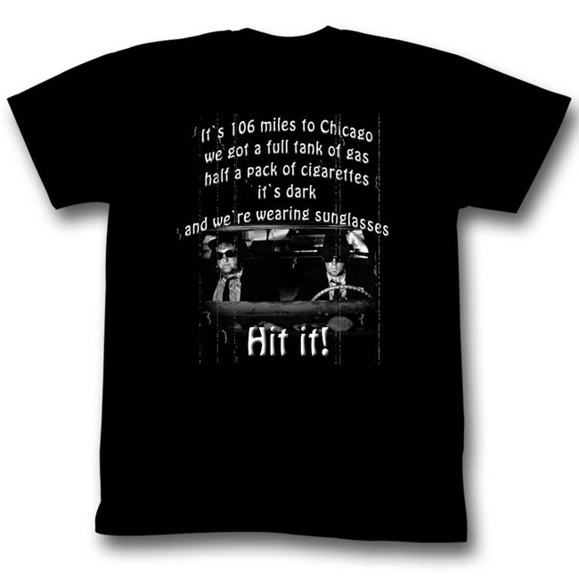 Blues Brothers 106 Miles Black Adult T-Shirt