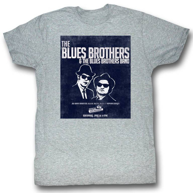 Blues Brothers Band Gray Heather Adult T-Shirt