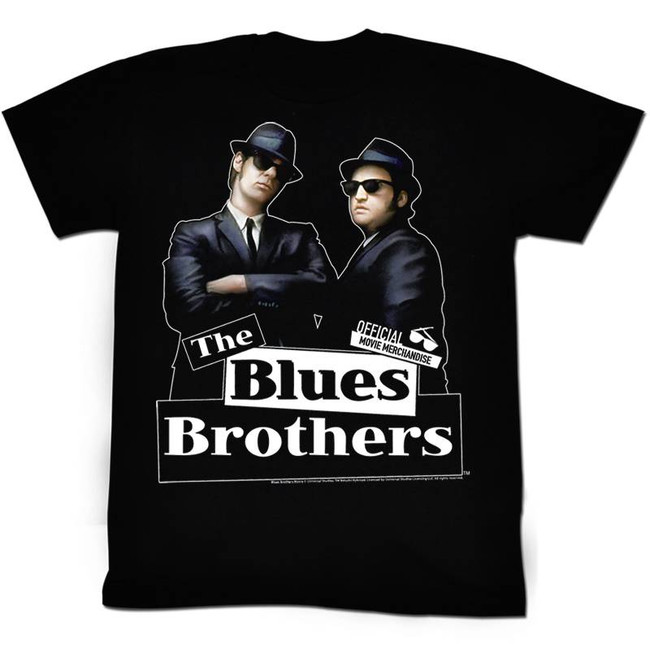 Blues Brothers Cartoon Black Adult T-Shirt