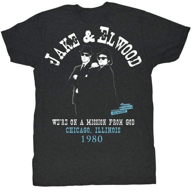 Blues Brothers Black Heather Adult T-Shirt
