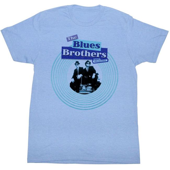 Blues Brothers Circle Light Blue Heather Adult T-Shirt