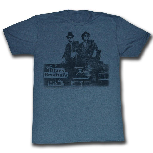 Blues Brothers Blues Vintage Navy Heather Adult T-Shirt