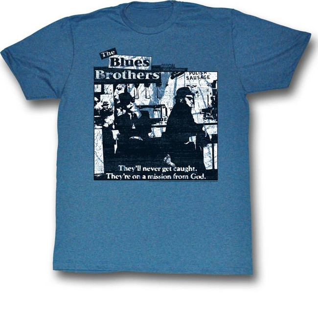 Blues Brothers Polish Sausage Blue Heather Adult T-Shirt