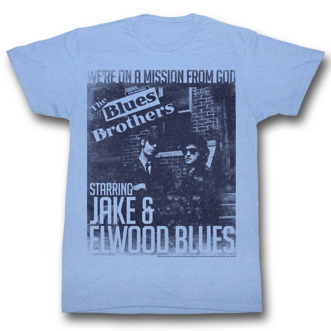 Blues Brothers More Missions Light Blue Heather Adult T-Shirt