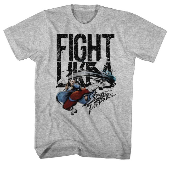 Street Fighter Fight Like A Gray Heather Adult T-Shirt