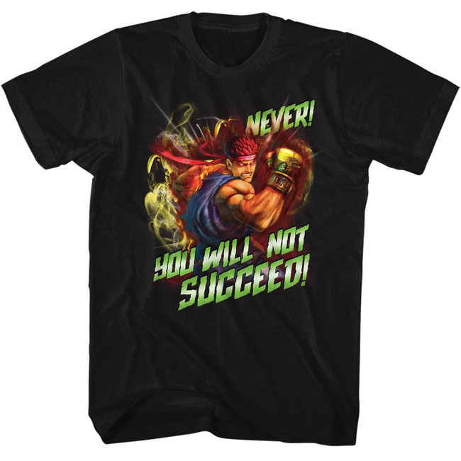 Street Fighter Never Succeed Black Adult T-Shirt