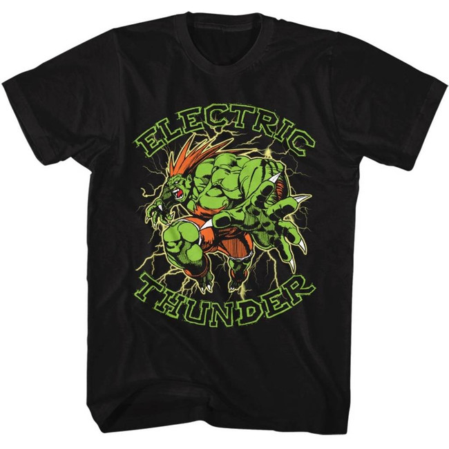 Street Fighter Electric Thunder Black Adult T-Shirt