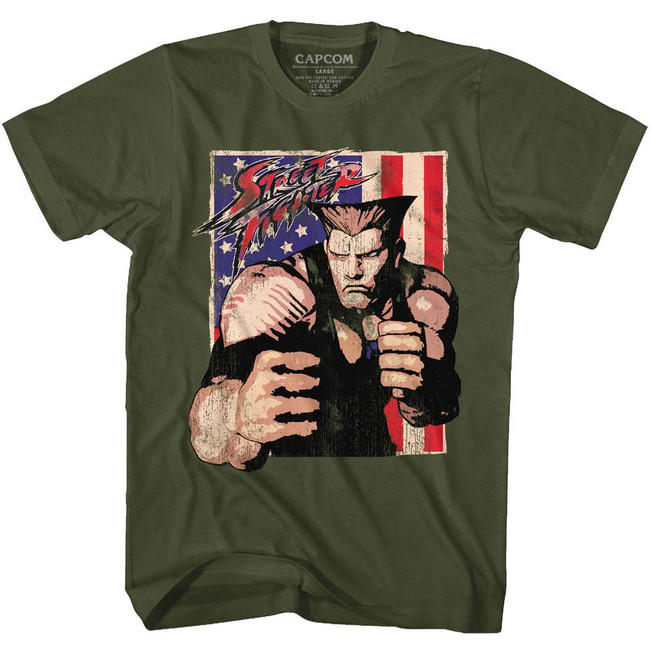 Street Fighter Guile With Flag Military Green Adult T-Shirt