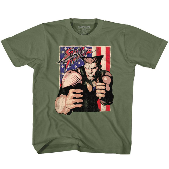 Street Fighter Guile With Flag Military Green Youth T-Shirt