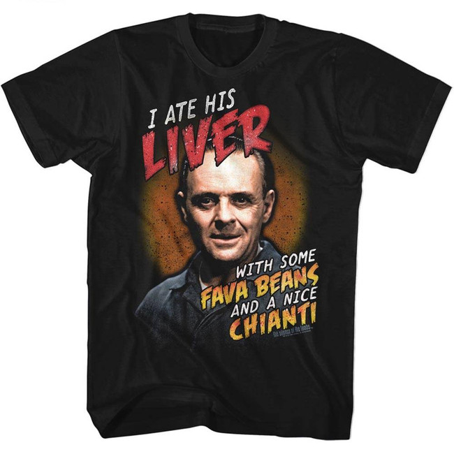Silence of the Lambs Fava Beans And Chianti Black Adult T-Shirt