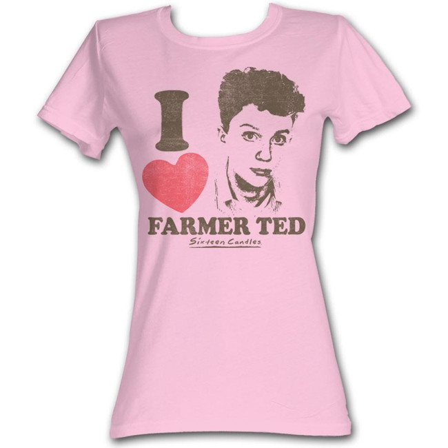Sixteen Candles I Heart Ted Light Pink Junior Women's T-Shirt