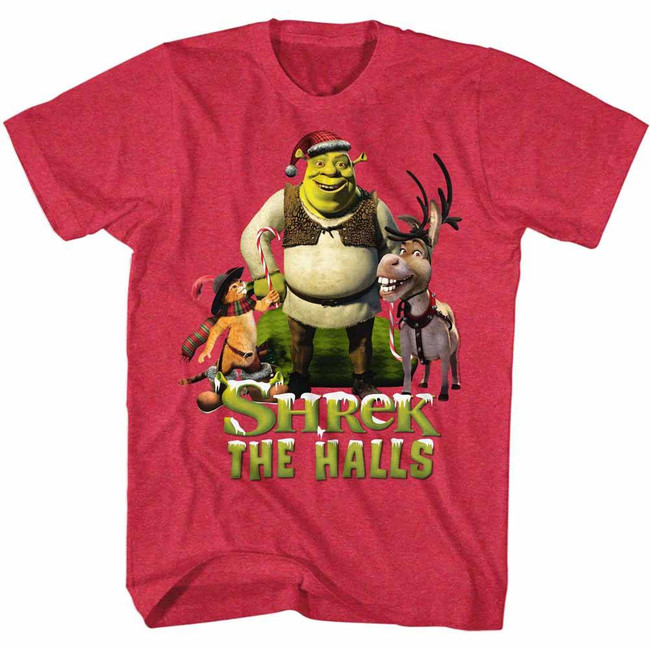 Shrek Holiday Group Cherry Heather Adult T-Shirt