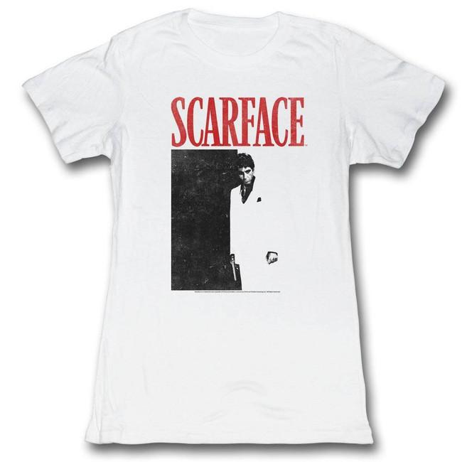 Scarface Blackandred White Junior Women's T-Shirt