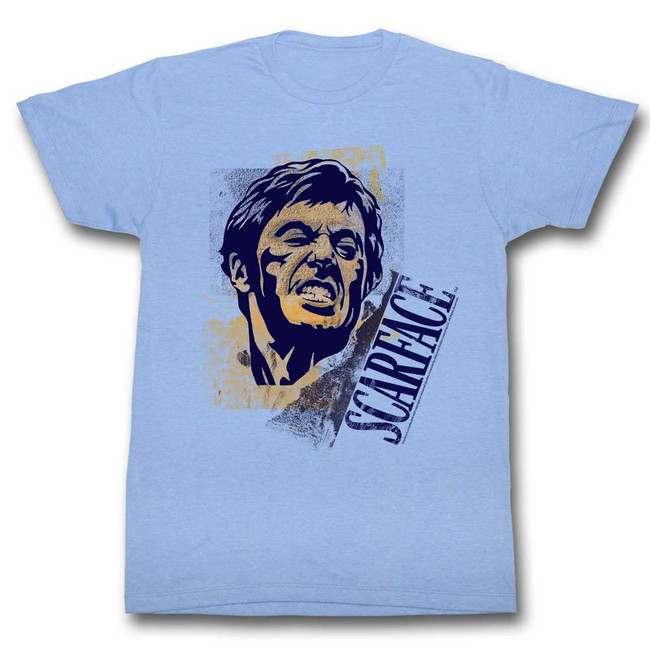 Scarface Say Cheese Light Blue Heather T-Shirt