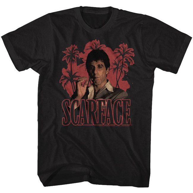 Scarface Red Palms Black T-Shirt
