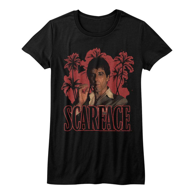 Scarface Red Palms Black Junior Women's T-Shirt