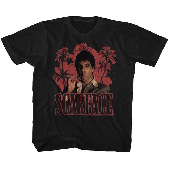 Scarface Red Palms Black Toddler T-Shirt