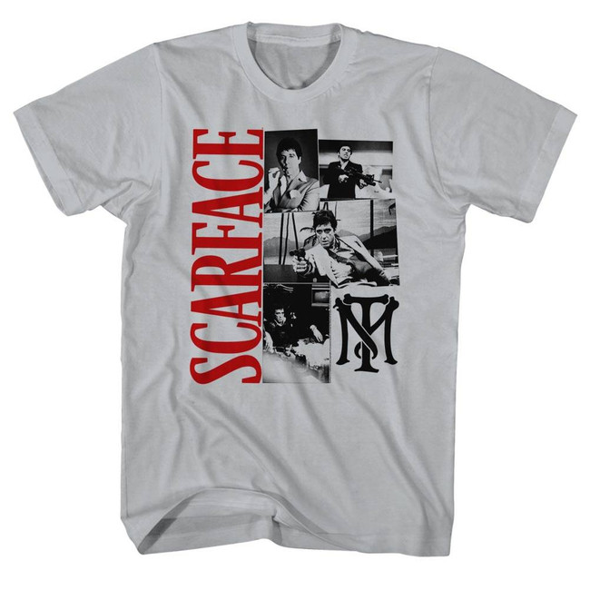 Scarface Montage Silver T-Shirt
