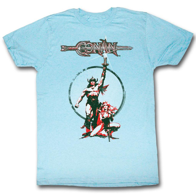 Conan The Barbarian Movie Poster Light Blue Heather Adult T-Shirt
