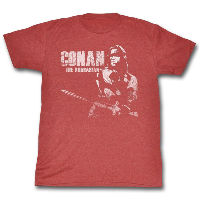 Conan The Barbarian White Red Heather Adult T-Shirt