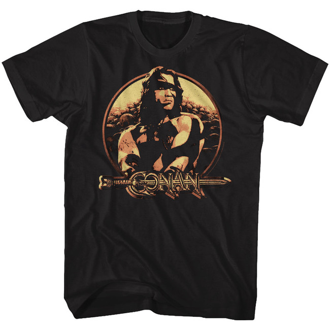 Conan The Barbarian Shield Black Adult T-Shirt
