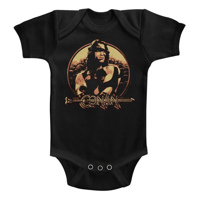 Conan The Barbarian Shield Black Baby Onesie T-Shirt