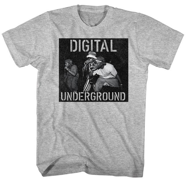 Digital Underground Mic On Stage Gray Heather Adult T-Shirt