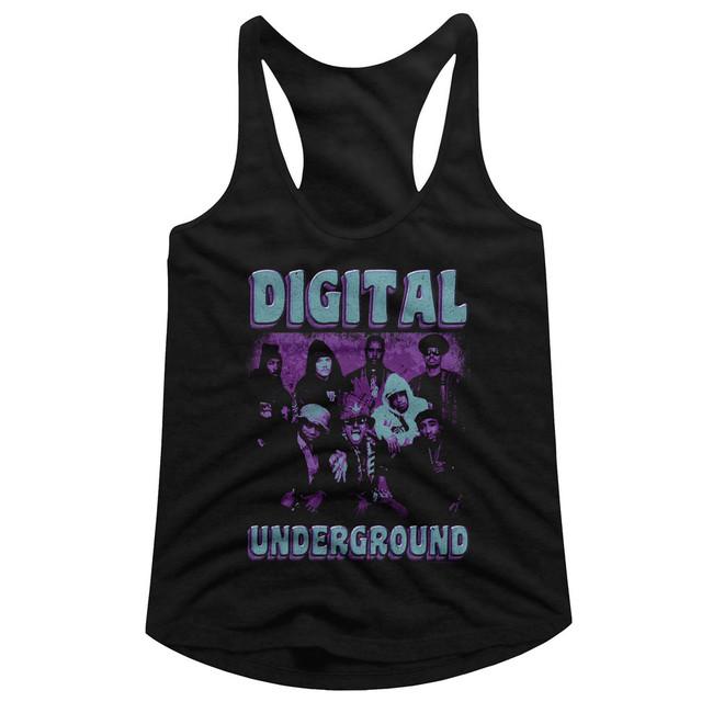 Digital Underground Funky Purp Black Junior Women's Racerback Tank Top T-Shirt