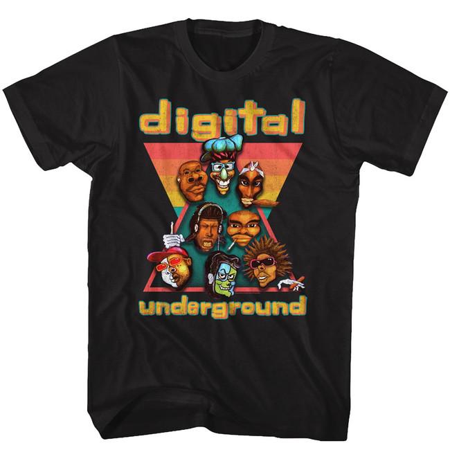 Digital Underground Heads Black Adult T-Shirt