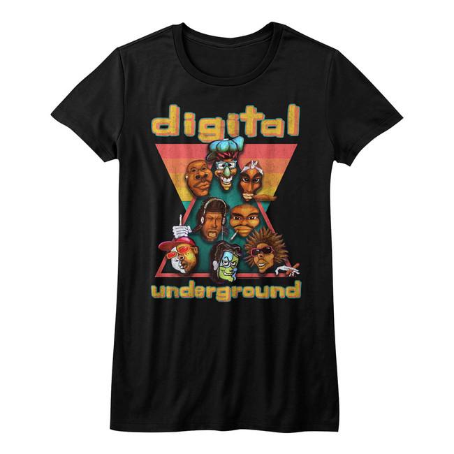 Digital Underground Heads Black Junior Women's T-Shirt