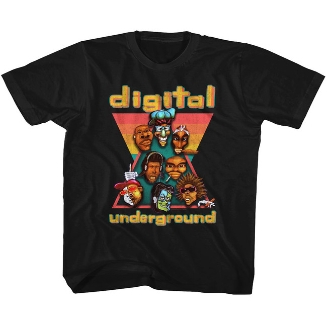Digital Underground Heads Black Youth T-Shirt