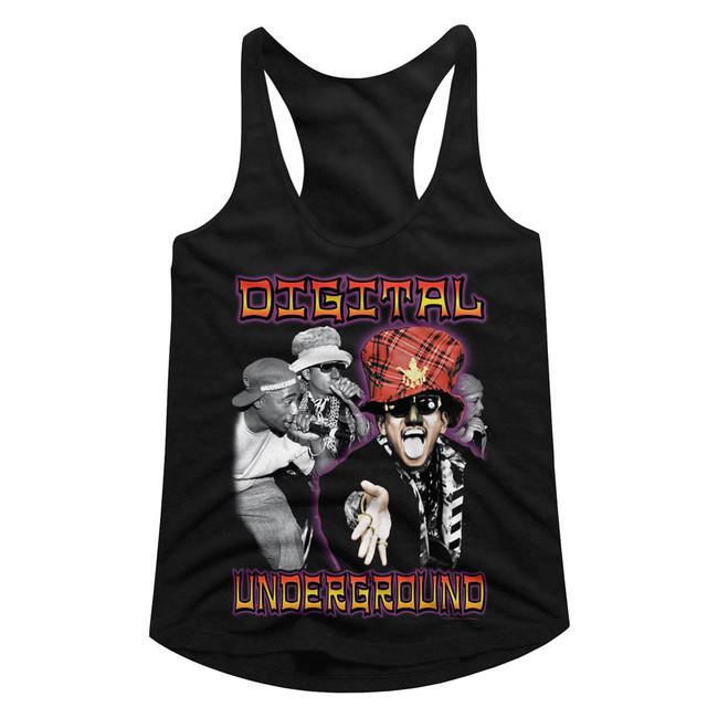 Digital Underground By Chance Black Junior Women's Racerback Tank Top T-Shirt