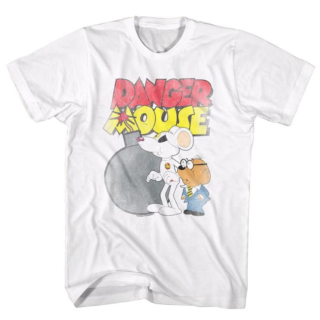 Danger Mouse Danger Bomb White Adult T-Shirt