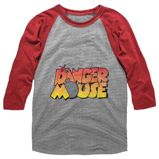 Danger Mouse Danger Bomb Gray Heather/Red Heather Adult Raglan Baseball T-Shirt