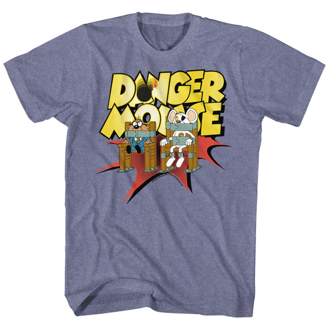 Danger Mouse Chair Strapped Blue Heather Adult T-Shirt