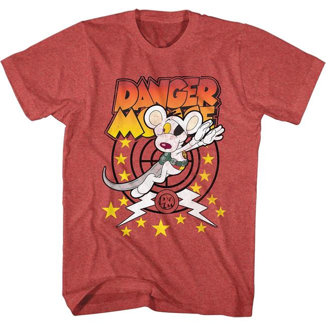 Danger Mouse Target Danger Red Heather Adult T-Shirt