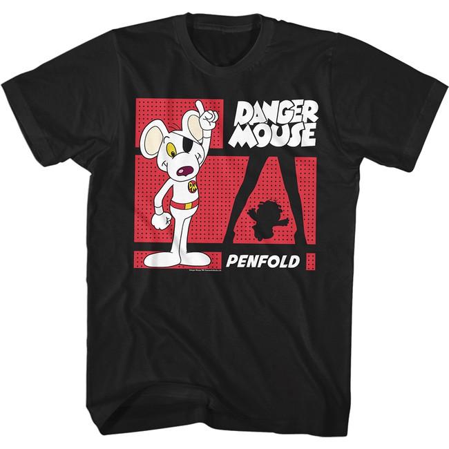 Danger Mouse Danger Zone Black Adult T-Shirt