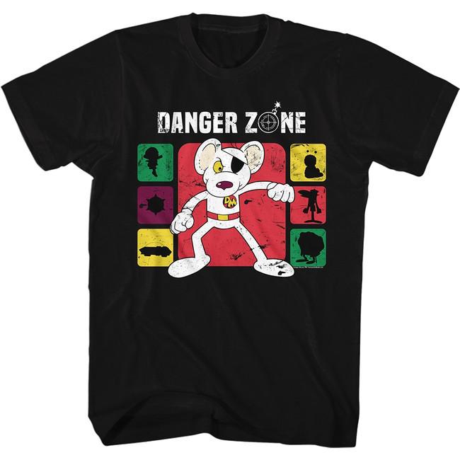 Danger Mouse Danger Zone Color Black Adult T-Shirt