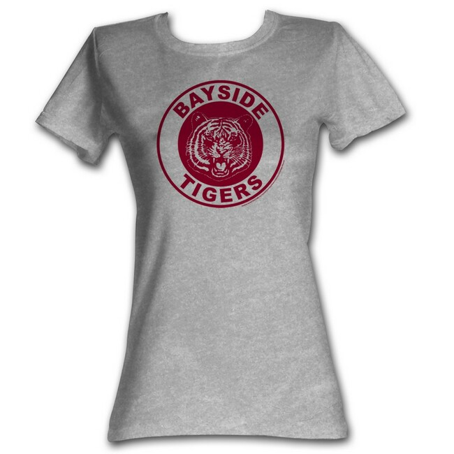 Saved by the Bell Bayside Circle Gray Heather Junior Women's T-Shirt